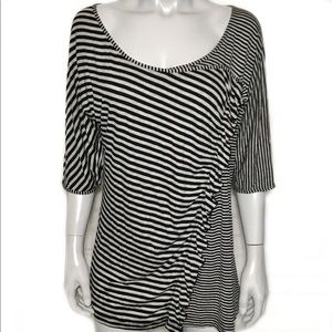 {lane bryant} gray and black striped blouse